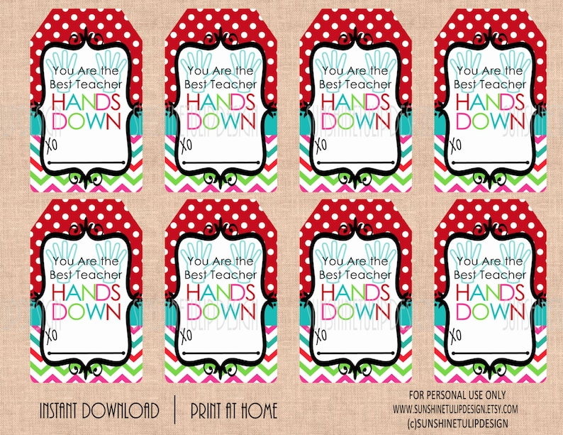photograph regarding Teacher Appreciation Tags Printable referred to as Instructor Appreciation Tags, Printable Perfect Instructor Palms DOWN Present Tags by way of SUNSHINETULIPDESIGN