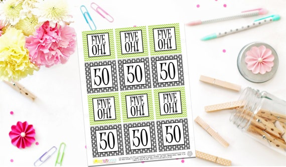 Printable 50th Birthday Gift Tags Five Oh Square Cupcake Toppers Sticker Labels By SUNSHINETULIPDESIGN