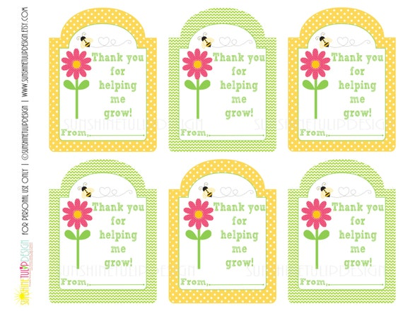 Printable Teacher Appreciation Gift Tags Thank You For Helping Me