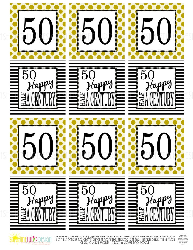 50th Birthday Half A Century Printable Gift Tags Cupcake