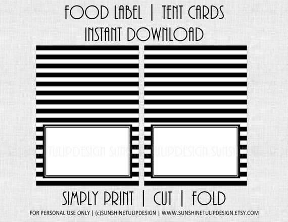image regarding Printable Table Tents referred to as Printable Black and White Stripe Meals Labels, Printable