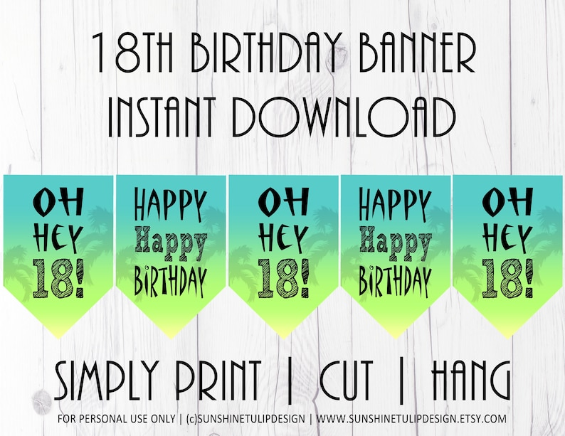 Printable OH HEY 18th Birthday Pennant Banner Printable 18th Birthday Banner Ombre 18th Birthday Banner by SUNSHINETULIPDESIGN