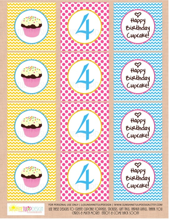 Printable 4th Birthday Cupcake Toppers Party Tags Happy By SUNSHINETULIPDESIGN