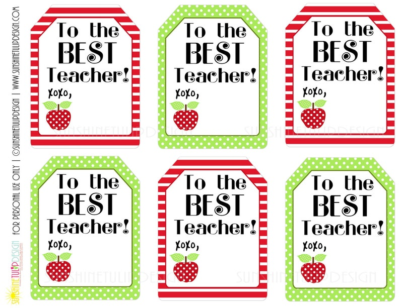picture about Teacher Appreciation Tags Printable named Printable Trainer Appreciation Reward Tags, The Excellent Trainer Printable Present Tags as a result of SUNSHINETULIPDESIGN