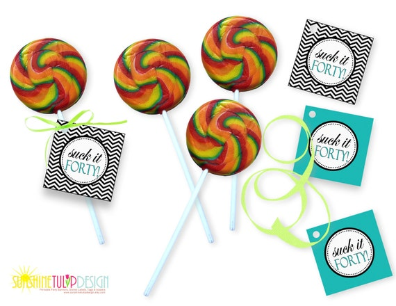 Printable 40th Birthday Suck It Forty Turquoise And Black Chevron Cupcake Toppers Gift Tags By SUNSHINETULIPDESIGN