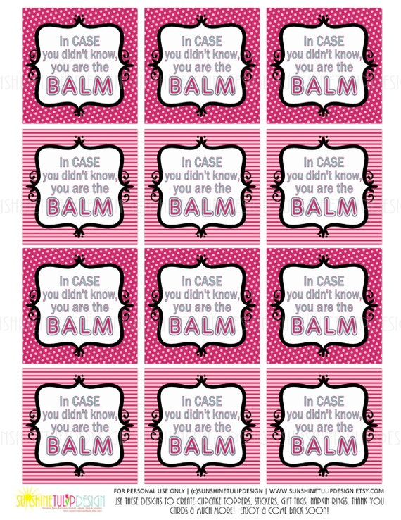 graphic relating to Teacher Appreciation Tags Printable identified as Printable On your own are the Balm Trainer Appreciation Tags