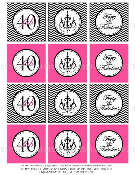 40th Birthday Black and Gray Silver Chevron Printable Cupcake Toppers Sticker Labels and Gift Tags by SUNSHINETULIPDESIGN