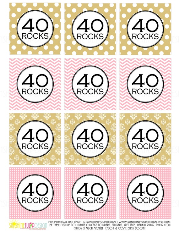 Printable 40 Rocks Cupcake Toppers 40th Birthday Pink And Gold Gift Tags By SUNSHINETULIPDESIGN