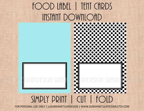 Printable Blank Table Tent Cards, Printable Food Buffet