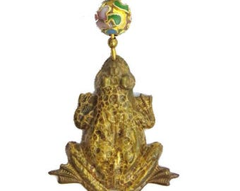"""Frog Lilypad Pin Spotted Brasstone Dangle Cloisonne Bead 3.5"""" Long"""