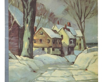 Vtg Scrapbook Softcover 15x10.5 Inches Snow Scene on Front Has Been Used 1953