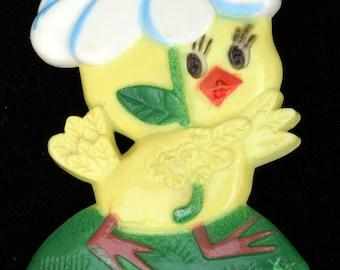 Vtg Easter Chick Pin Flower Umbrella Plastic Norcross Patroller