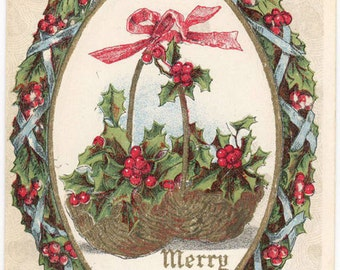 Vintage Christmas Postcard Embossed Holly Holiday Basket