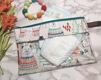 Woodland Bears and Arrows Vinyl-lined Pouch, diaper bag pouch, travel pouch, packing pouch