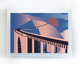 "Bixby Bridge/Big Sur Illustration Vector Wanderlust California Poster/Wall Art 11x14"""