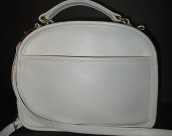 6f68a8ffe8 COACH Vintage Off White Leather Purse Cross body Lunchbox Rare # 9991.