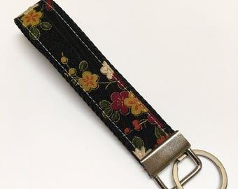 Wristlet Key Fob, Japanese pattern, Fabric Key Chain, Japanese kimono pattern Fabric key fob, wristlet, gift for woman