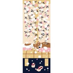 Japanese gift cotton fabric Japanese fabric cherry blossom wrapping cloth tapestry Tenugu Sentencebird fabric art cat
