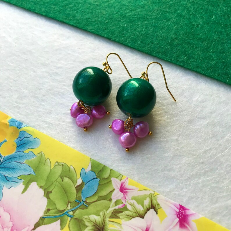Green & Pink  very limited edition earrings made of green image 0