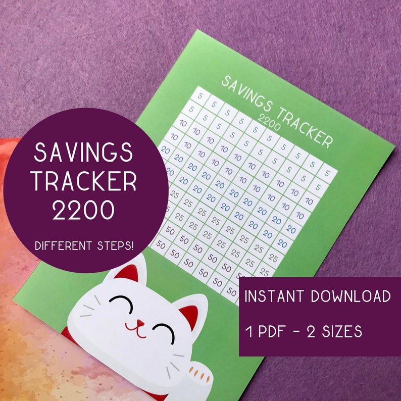 Savings Tracker 2200 printable  PDF file with 2 sizes A4 and image 0
