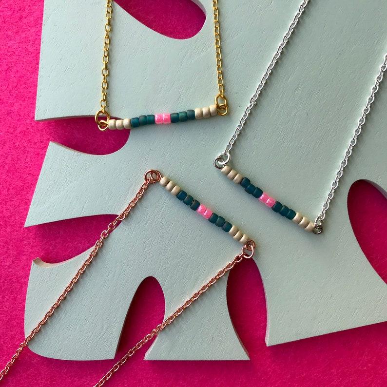 Beaded Barnecklace  bar necklace with toho beads pink petrol image 0
