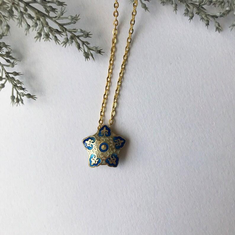 pentagon pale blue Cloisonn\u00e9 Blue blue star unique ethnic lightblue necklace with an oriental pendant with enamel