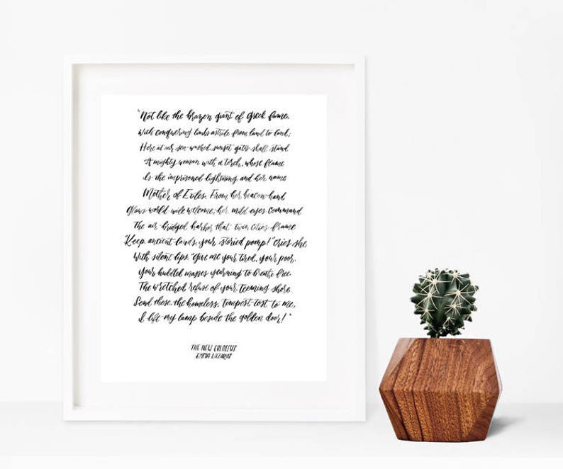 The New Colossus Poem Calligraphy Print Americana Print Give image 0