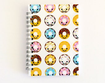 Cute Notebook for Mom, Cute Travel Journal Graduation Gift, Kawaii Donut Art Design, Spiral Bound Notebook Blank Pages, Party Favor
