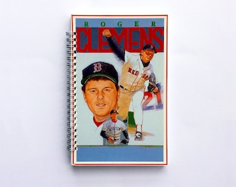 Boston Red Sox Gifts, Baseball Coach Gift Ideas, Baseball Mom/Dad Gift, Roger Clemens, Upcycled Notebook, Vintage Notebook Journal Gift