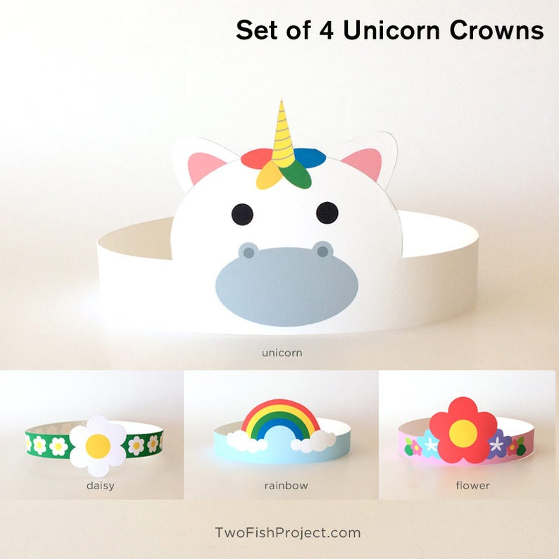 Rainbow Unicorn Birthday Party Hat Headband Crown Costume