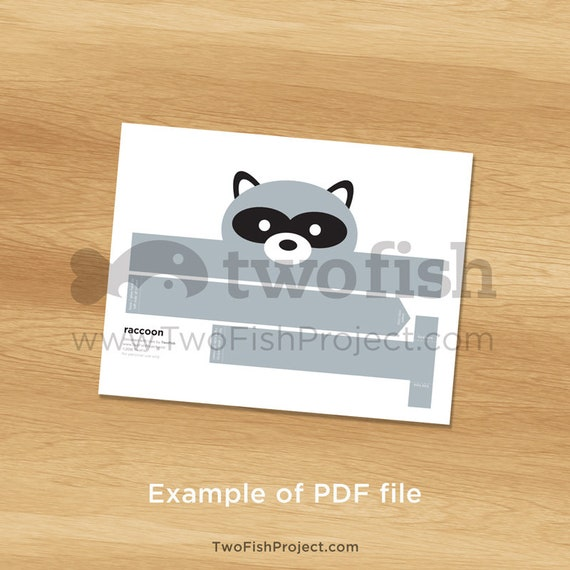 ForestWoodland Animal Party SuppliesFavorsHats Raccoon Costume Mask Baby Shower Favor Paper HeadbandCrown Printable Kids DIY Racoon