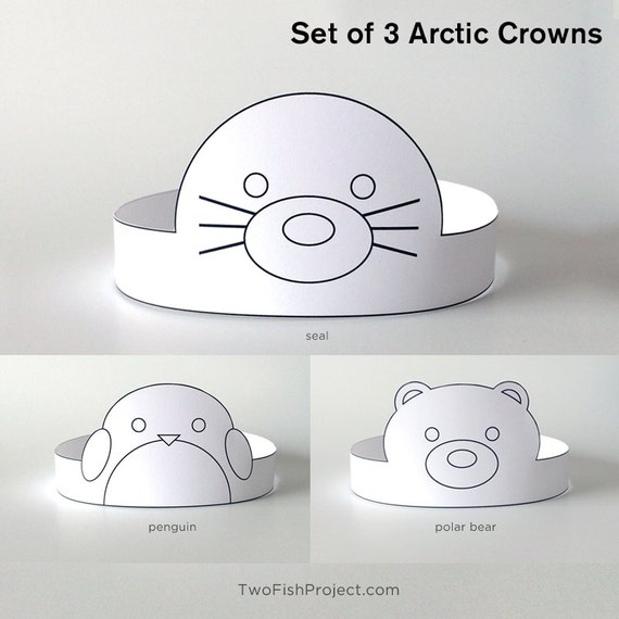 Coloring Face Masks/Costumes, DIY Birthday Party Supplies for  Kids/Toddlers, Paper Crowns/Hats | Arctic Animals: Penguin, Polar Bear, Seal