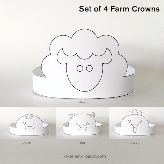 Diy coloring mask printable paper crown kit kids birthday etsy image 0 maxwellsz