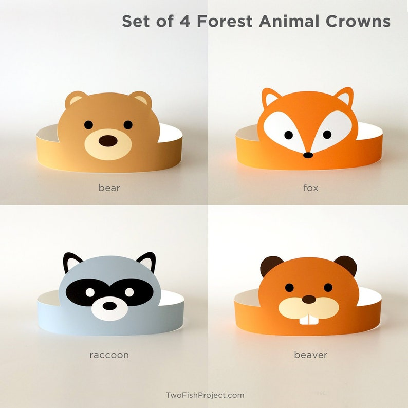 DIY Birthday Party Supplies for Kids/Toddlers, Paper Hats, Crafts, Face  Masks/Costumes | Woodland Forest Animals: Fox, Bear, Beaver, Raccoon