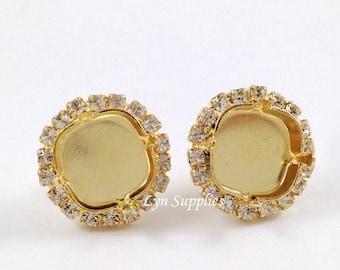 Cushion Cut Rhinestone Earrings 12mm 4470 Halo Stud Earrings Clear Crystal Rhinestone, Gold / Silver / Rose Gold