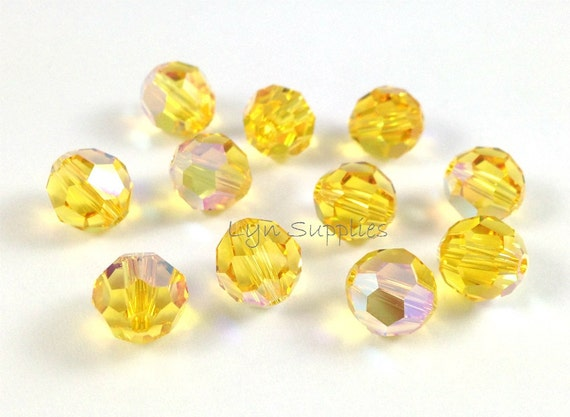 4mm LIGHT TOPAZ AB 5000 Swarovski Crystal Faceted Round Beads
