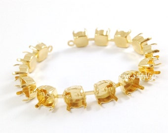 8mm ss39 Gold Plated Bracelet Cup Chain 15-Settings 15.5cm Fits Swarovski 1088