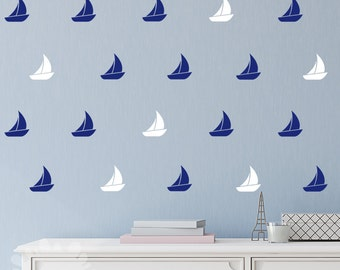 Sail Boat Wall Decal / 36 Sail Boats Sticker / Home decor / Kids Wall Decal