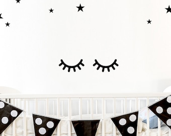 Eyes Wall Decal / Sleepy Eyes Sticker / Kids Wall Decal / Door Decal / Eyes Sticker