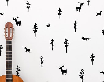 A kids room decal / Woodland Wall Decal / Forest Wall Decal / Fox Wall Decal / Tree Wall Decal / Nursery Wall Decal