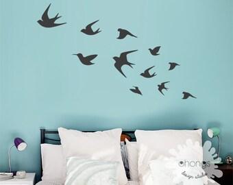 Bird Wall Decal / Flying Birds Wall Deal / Birds Wall Sticker /  Interior decal / Living Room Wall Decal / Wall Art