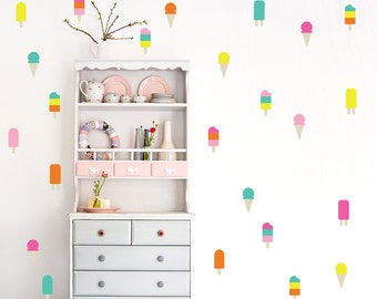 An ice cream in the Wall Decal / 6 color ice cream Decal /  50 colorful ice cream pattern / Kids Room Decal / Nursery decal / decor / gift