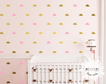 Cloud Wall Decal / Cloud Wall Sticker / Mini Cloud Decal / 64 clouds sticker / Kids Room decoration / Nursery Decal / gift