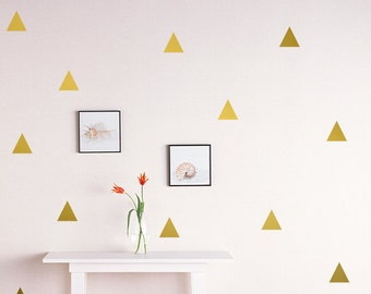 """Triangle Wall Decal /Gold triangle Decal / 2.5"""" triangle sticker / Kids wall decoration / nursery wall decal"""