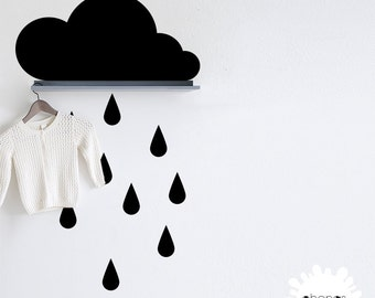 Cloud Wall Decal / Raindrop Wall Decal / Nursery Wall Decal / Large Cloud Sticker / modern custom living room / make your own / gift