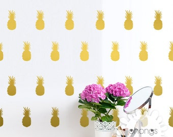 Pineapple Wall Decal / Pineapples Sticker / Modern Gold Wall Decal / Office Wall Decal / Kids wall decoration / Nursery Wall Decal / gift