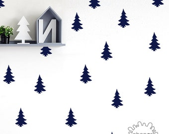 Pine Tree Wall Decal / Woodland Wall Decal / Kids wall decoration / Home Decor / custom nursery living room / make your own / modern wall