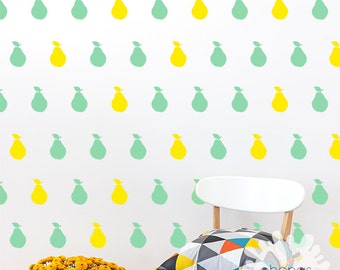 Pear Wall Decal / 2 Color Pear Decals / Fruit decor / Custom removable vinyl / Kitchen decal / Kids wall / Home decoration / gift