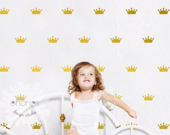 "Crown Wall Decal / Crown Decal / Gold Crown Decal / 2.5"" Crown sticker / Kids wall decoration / baby room decal"