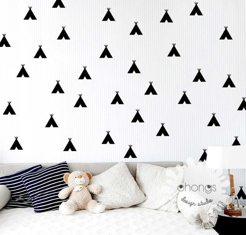 TeePee Wall Decal  Tent Wall Sticker  Indian Tepee Decal  Kids wall decoration  Nursery decal